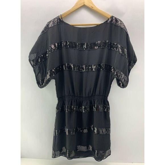 Jessica Simpson Women's Black Sequin Dress Top XS